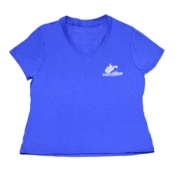 Official Women's Silk screened V-neck 150th Birthday T-shirt - Royal Blue